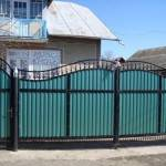 Ворота и калитка с элементами ковки из профнастила