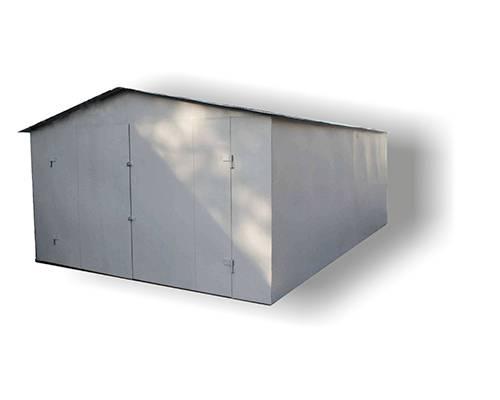 Металлический гараж с двускатной крышей сборный