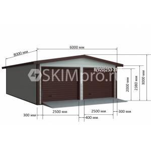 Гараж из сендвич-панелей с двускатной крышей 8.00м x 6.00м x 3.00м