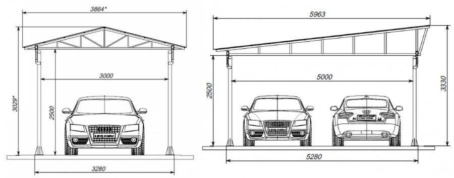 Чертеж и размеры гаража из профнастила