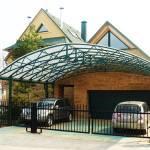 Навес для загородного дома, металла, поликарбонат