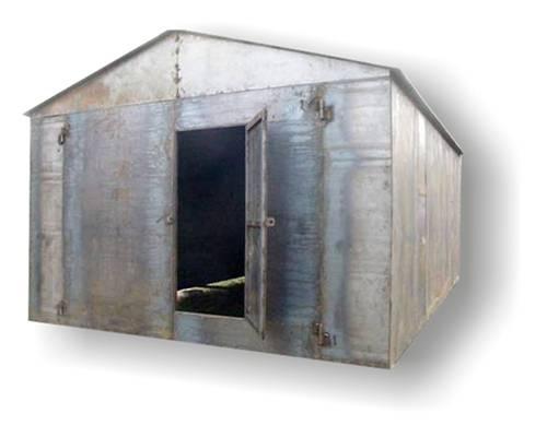 Сварной металлический гараж с двускатной крышей