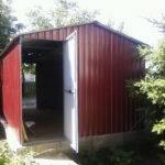 Двухсткатный гараж из профнастила