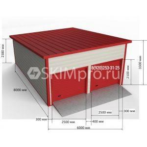 Гараж из сэндвич-панелей с односкатной крышей 8.00м x 6.00м x 3.30м